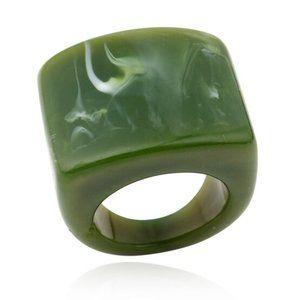 Women's Ring Retro Acrylic Olive Marble